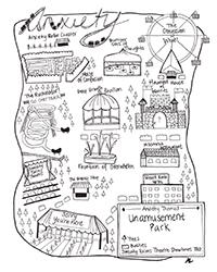 poster for Amanda Lederle - Anxiety Themed Unamusement Park Map (Prints)